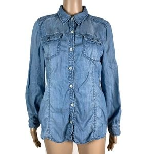 Chico's Button Shirt Chambray Lyocell Blue M 8